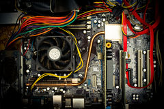 Old dusty pc motherboard vintage color effect Royalty Free Stock Photos