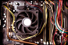 Old dusty pc motherboard vintage color effect Stock Photo