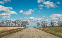 Old dusty rural road among bright spring plowed fields Stock Photo
