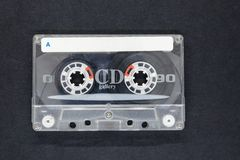Old and Dusty Music Cassette on Black Background Surface with free Space royalty free stock photo