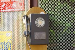 Old dusty telephone booth stock photo