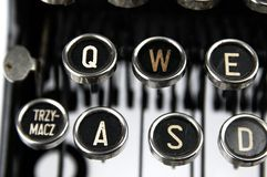 Old dusty typewriter seen up close Royalty Free Stock Images