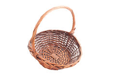 Old dusty wicker basket isolated on white background Stock Photos