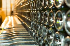 Old wine bottles in cellar in winery Royalty Free Stock Images