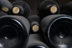Old dusty wine bottles Royalty Free Stock Photos