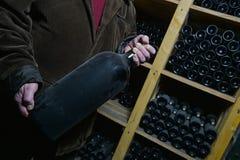 Old dusty wine bottles Royalty Free Stock Image
