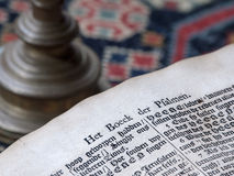 Old Dutch Bible Detail. Old Dutch Book of Psalms close up showing antique printing style and old paper Royalty Free Stock Images