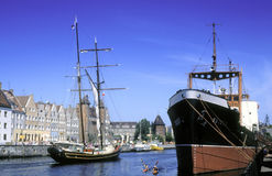 Old Dutch brig and an old steamer Royalty Free Stock Images