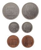 Old Dutch Coins Isolated on White Royalty Free Stock Photo