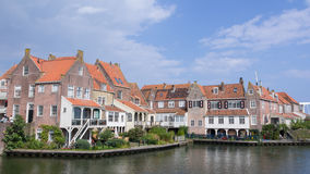 Old dutch fisherman houses in Eenhuizen Netherlands Stock Photo