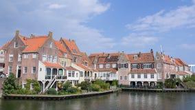 Old dutch fisherman houses in Eenhuizen Netherlands Stock Photo