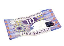 Old dutch money: Ten guilder note stock photography