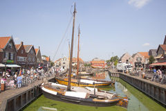 Old dutch sailing vessels in the harbor of Spakenburg Royalty Free Stock Photography