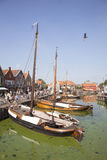 Old dutch sailing vessels in the harbor of Spakenburg Stock Photography