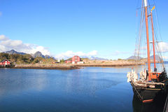 old dutch sailor mooring  in Kabelvoag in Lofoten Stock Image