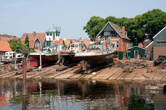 Old Dutch shipyard. In fishery village urk, the Netherlands royalty free stock image