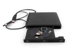 Old DVD-ROM in drive on white Royalty Free Stock Photo
