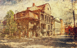 Old dwellig buildings in historical downtown of Kharkov. Ukraine. Stock Photos