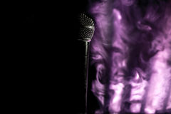 The old dynamic vocal microphone, beautiful, background. Space for text Stock Image