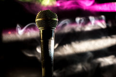 The old dynamic vocal microphone, beautiful, background. Space for text Royalty Free Stock Photography