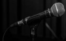 The old dynamic vocal microphone. Space for text Stock Photography
