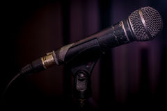 The old dynamic vocal microphone. Space for text Stock Photos