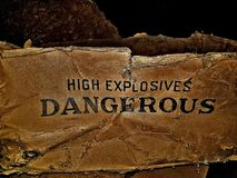 Old dangerous high explosives box. Old dynamite box Royalty Free Stock Photo