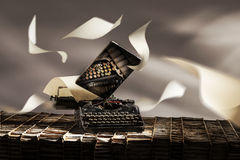 Old e new writing. An old typewriter and a modern tablet royalty free stock photography