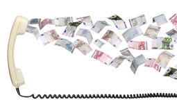 Old earpiece with european currency Stock Photography
