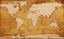 Old World Map. Worn grungy old world map vector illustration