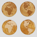 Old Earth World Map - plain set Royalty Free Stock Photo