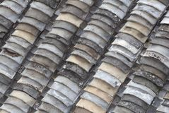 Very old earthenware roof tiles  Royalty Free Stock Images