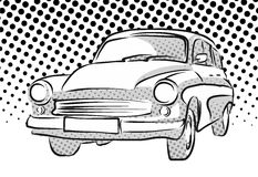 Old East German Car, Dotted Background. Vector Hand Drawn Artwork Stock Image