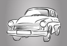 Old East German Car, Grey Shaded Sketch Stock Photo