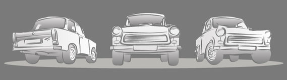 Old East german Car, Three Views. Royalty Free Stock Images