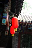 Old eaves and red lantern. Old temple and old building has old eaves and red lantern royalty free stock images
