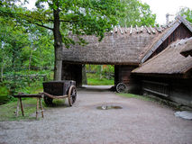 Old ecological cabin in Skansen park Stock Image
