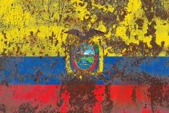 Old Ecuador grunge background flag. Old flag stock photography
