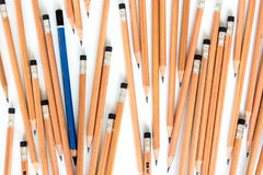 Old EE pencil in the group of new 2B pencil. S royalty free stock photo