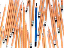 Old EE pencil in the group of new 2B pencil. S stock photos
