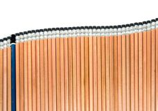 Old EE pencil in the group of sort orderly new 2B type pencil. Old EE type pencil in the group of sort orderly new 2B type pencil Royalty Free Stock Image