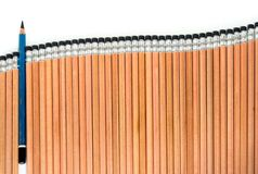 Old EE pencil in the group of sort orderly new 2B type pencil. Old EE type pencil in the group of sort orderly new 2B type pencil Royalty Free Stock Photo