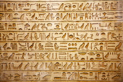 Old egypt hieroglyphs. Carved on the stone Royalty Free Stock Image