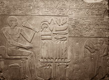 Old egypt hieroglyphs carved on the stone Stock Photo