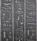 Old Egypt hieroglyphs carved on the stone Royalty Free Stock Photo
