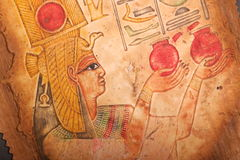 Old Egyptian art on papyrus Stock Images