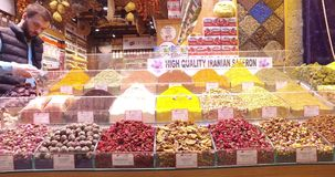 Old Egyptian market in Istanbul for the sale of spices and sweets. ISTANBUL, TURKEY - 7 APRIL , 2017: Old Egyptian market in Istanbul for the sale of spices and stock footage