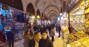 Old Egyptian market in Istanbul for the sale of spices and sweets stock video footage