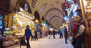 Old Egyptian market in Istanbul for the sale of spices and sweets. ISTANBUL, TURKEY - 7 APRIL , 2017: Old Egyptian market in Istanbul for the sale of spices and stock video footage