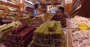 Old Egyptian market in Istanbul for the sale of spices and sweets stock footage